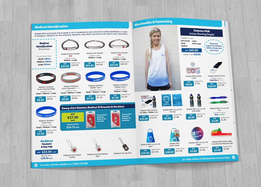 Diabetes NSW Product Catalogue Design