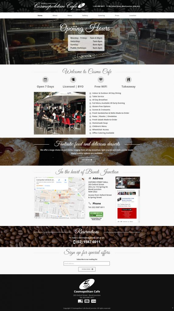 Cosmopolitan Cafe Home Page Design